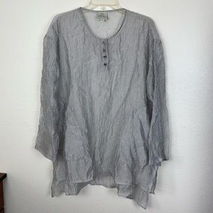 Spirittiouse Sheer Striped Tunic Henley Pockets Sm